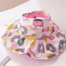甜甜圈滿印透氣大帽沿女童空頂帽 附防風繩 可收折 遮陽帽 防曬帽 大檐帽 現貨 女童 橘魔法