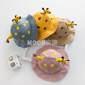 兒童帽子春季薄款時尚小鹿漁夫帽男女兒童遮陽防曬寶寶盆帽夏天 快速出貨