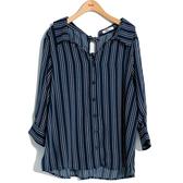 秋冬7折[H2O]背後平結裝飾寬鬆版前短後長條紋襯衫 - 藍/白色 #9655021
