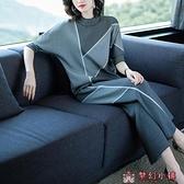 2020年春秋裝女裝新款大碼兩件套裝闊太太洋氣質媽媽哈倫時尚棉麻【快速出貨】