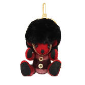 BURBERRY 格紋喀什米爾英倫皇家衛兵 Thomas 泰迪熊墜飾(紅色)