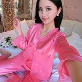 96391#秋長袖袖睡衣女士仿真絲女薄款韓版性感常規套裝家居『夢娜麗莎精品館』