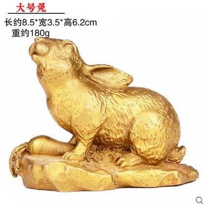 開光純銅十二生肖擺件屬鼠牛虎屬兔龍蛇馬羊猴雞狗豬  大號兔3942N16