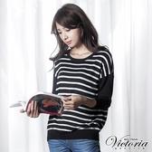 Victoria 條紋寬鬆長袖線衫-女-黑底白條