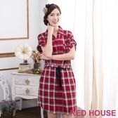 【RED HOUSE 蕾赫斯】格紋抽腰襯衫洋裝(共二色)