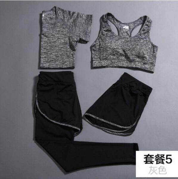 夏季健身房瑜伽服速幹運動套裝女顯瘦背心短袖上衣三件套跑步長褲 -1(主圖款)wh