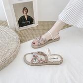 涼鞋女仙女風ins潮2021新款夏季時尚百搭碎花學生女士平底羅馬鞋 格蘭小鋪