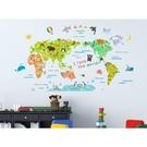 可愛動物世界地圖壁貼