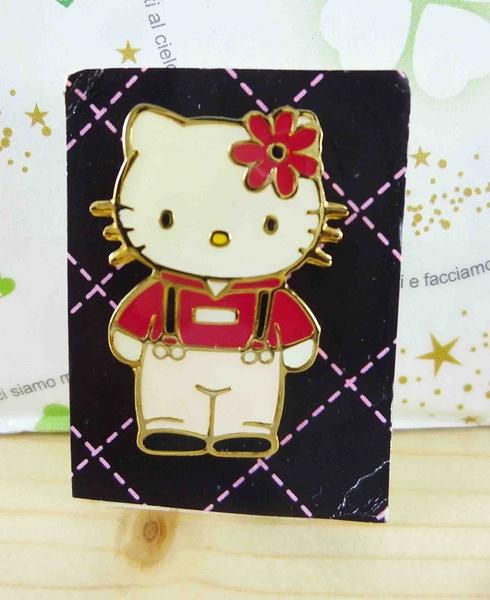 【震撼精品百貨】Hello Kitty 凱蒂貓~KITTY造型徽章-紅花