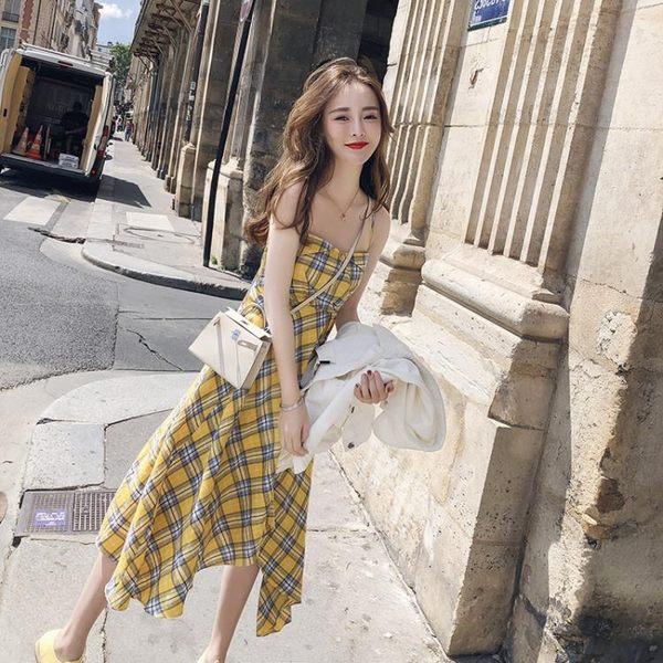 吊帶裙 很仙的法國小眾桔梗裙夏季法式格子連身裙超仙女吊帶群子 【唯伊時尚】