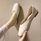 低跟鞋 2021春森女平底方頭單鞋兩穿淺口孕婦奶奶鞋復古半拖仙女懶