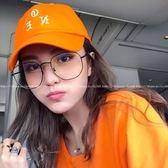 現貨-韓國ulzzang原宿復古眼鏡框羅志祥同款眼鏡框女方形素顏神器顯臉小金屬平光鏡男124