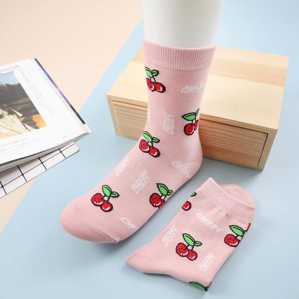【正韓直送】韓國襪子 笑臉食物中筒襪 微笑食物 櫻桃桃子 長襪 哈囉喬伊 A206