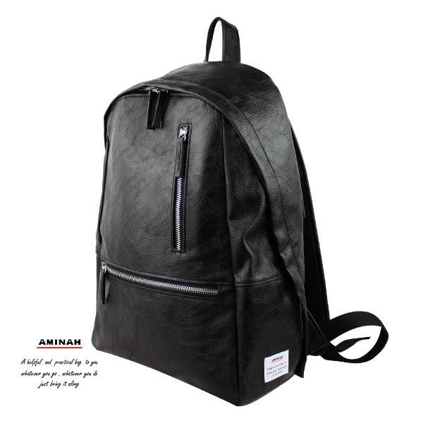 黑色雙鍊皮革後背包  AMINAH~【am-0296】