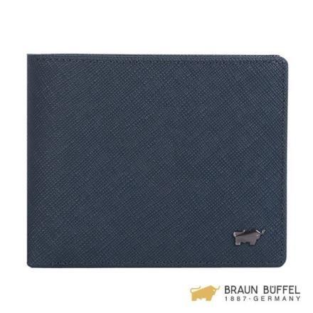 【南紡購物中心】【BRAUN BUFFEL】洛非諾III系列5卡窗格皮夾 -午夜藍 BF314-316-MAR