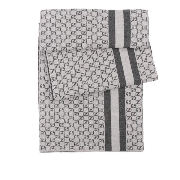 【GUCCI】GG Logo 條紋羊毛圍巾(深灰/淺灰) 438253 3G206 1762