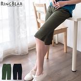 七分褲--裝飾雙袋蓋修飾小腹設計接羅紋下擺打摺七分褲(黑.綠S-5L)-S59眼圈熊中大尺碼