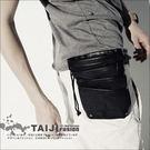 【NTJBB34】黑色‧束口夾層輕便造型腰包‧黑色‧多功能/口袋/側背/後背