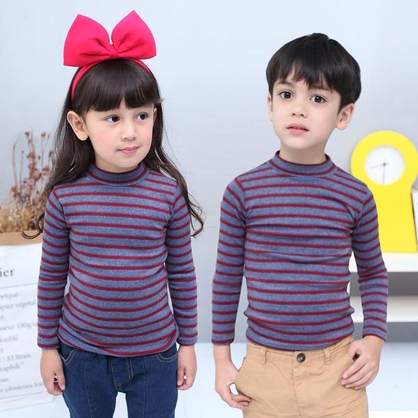 Azio童裝 上衣 磨毛條紋長袖保暖衣(共7款) Azio Kids 美國派 童裝