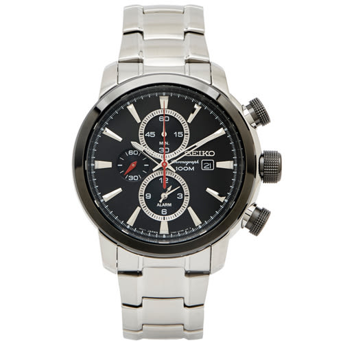SEIKO 霸氣魅力再顯款計時手錶(SNAF47P1)-黑面/x銀色/44mm