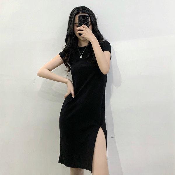 買一送一 歐美風時尚純色休閒裙修身開叉小黑裙復古短袖洋裝
