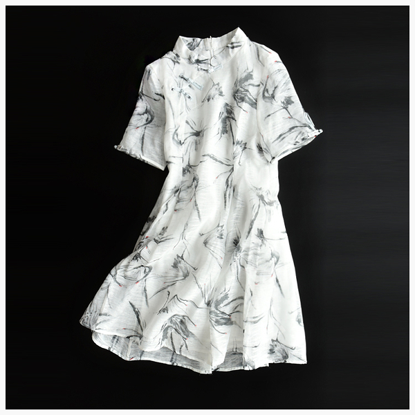 [超豐國際]W 029 中式古風 盤扣 水墨仙鶴印花 連衣裙