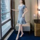 洋裝短袖裙子甜美S-XL新款蕾絲鏤空連身...