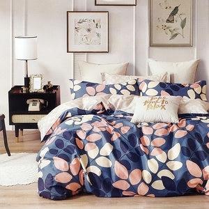 BUTTERFLY-純棉四件式被套床包組-秋風落葉-藍(加大)