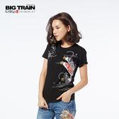 BIG TRAIN 鯉魚旗圓領短袖女款-女-黑色