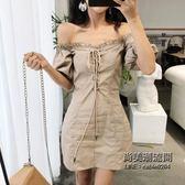 小心機設計感性感純色百搭復古chic風一字領露肩綁帶泡泡袖連身裙 萬聖節服飾九折