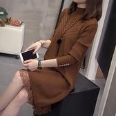 大碼毛衣秋冬季新款女裝胖mm中長款顯瘦遮肚子針織連衣裙減齡 優拓