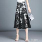 雪紡半身裙夏女新款高腰網紗半身裙中長款顯瘦碎花女裙子長裙  聖誕節免運