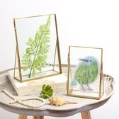 北歐金屬玻璃相框擺台創意相框照片裝飾畫框diy像框房間桌面擺件   LannaS