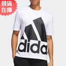 【現貨】ADIDAS BIG LOGO 男裝 短袖 休閒 純棉 大LOGO 白【運動世界】GK3328