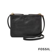 FOSSIL DEVON 黑色多夾層真皮斜背小方包 ZB7415001