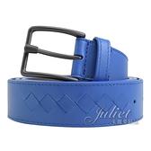 茱麗葉精品【全新現貨】BOTTEGA VENETA 598582 小牛皮針扣式寬版皮帶.藍