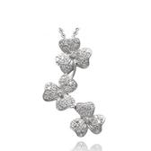 925純銀項鍊+鑲鑽吊墜-可愛花朵生日情人節禮物女配件73df64【時尚巴黎】