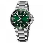 Oris 豪利時 Aquis 時間之海潛水300米日期機械錶-綠水鬼x銀/39mm 0173377324157-0782105PEB