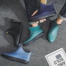 雨靴 夏季短筒水鞋雨鞋男低幫時尚潮流雨靴廚房膠鞋防水防滑學生套鞋子 宜品