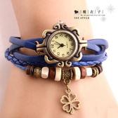 【Q50A28】魔衣子-復古經典男女款四葉草編織手環手錶