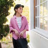 《AB10902-》純色系反褶袖口七分袖襯衫 OB嚴選