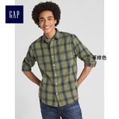 Gap男裝 基本款休閒格紋長袖襯衫 357515-軍綠色