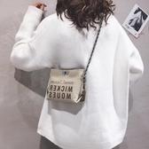 上新質感可愛小包包女韓版斜挎水桶包休閒帆布單肩鏈條包