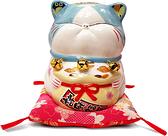【金石工坊】冰淇淋波士桃花貓(高15CM)招財貓 開店送禮 開業禮品 陶瓷開運擺飾 撲滿存錢筒