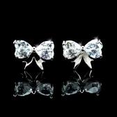 耳環 925純銀 鑲鑽-氣質蝴蝶結生日情人節禮物女飾品2色73hz3【時尚巴黎】