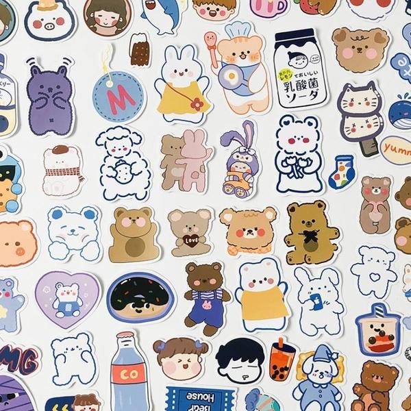 手賬貼紙 90枚手帳貼紙 小清新卡通可愛少女心動物手賬日記手機裝飾貼畫 小衣里