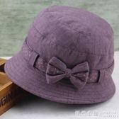 中老年女帽春季盆帽漁夫帽休閒布帽老人帽子奶奶遮陽帽時裝帽春秋  ◣怦然心動◥