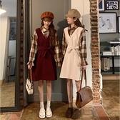 裙子女秋冬季2021年新款假兩件拼接長袖連衣裙氣質韓版《蓓娜衣都》