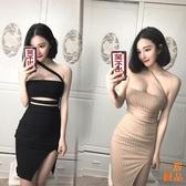 優一居 洋裝連身裙春裝時尚性感夜店鏤空抹胸斜肩低胸掛脖包臀開叉連身裙