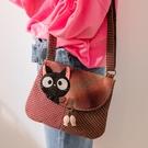 Kiro貓‧小黑貓 先染布 翻蓋 小斜背包/側背包【270073】